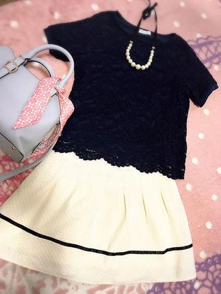 【ホワイト バイカラースカート】