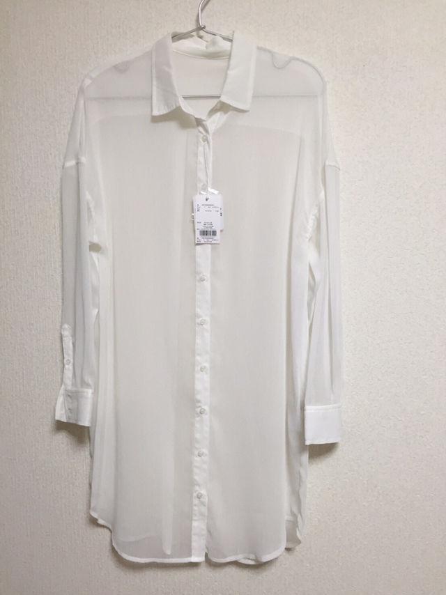 ホワイトシフォンシャツ