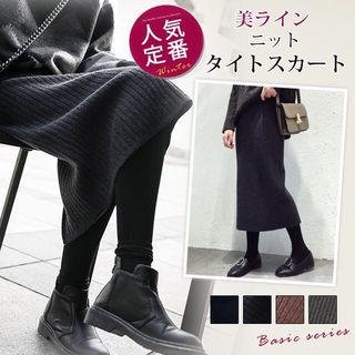 【人気!】 秋冬 ミモレ丈 リブニット タイトスカート