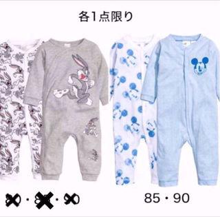H&Mおしゃれbabyミッキーカバーオール85・90