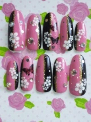 M:)成人式桜×蝶和風ネイルw4