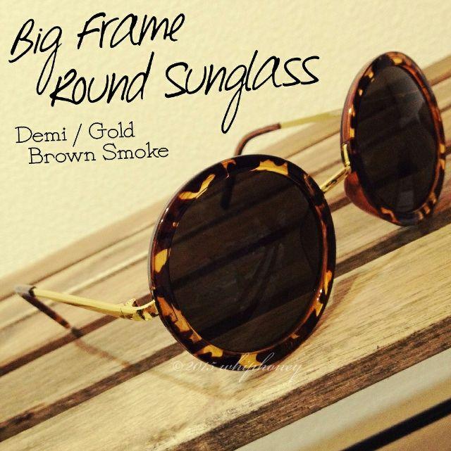 ビッグラウンドサングラス丸眼鏡デミブラウンゴールドスモーク