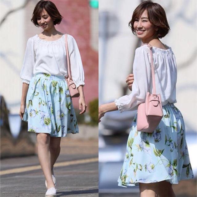 新品・タグ付き clear 水彩風花柄フレアスカート