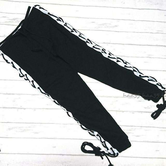 【再入荷】カイリージェンナー着用レースアップパンツ 黒SM
