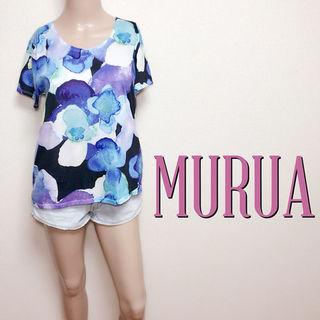 いつでもムルーア 水彩フラワー きれいめTシャツ