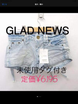 未使用 GLAD NEWS 加工デニム ショートパンツ