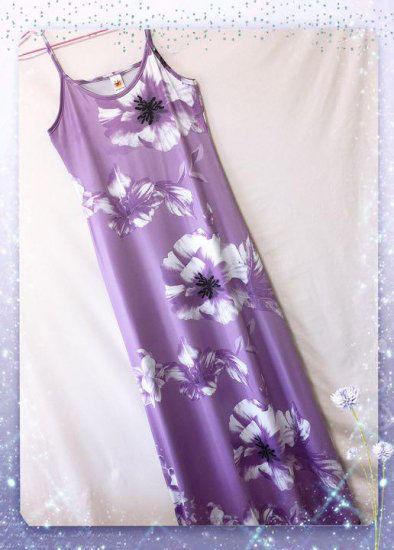 新品花柄綺麗マキシワンピース パープル XXL