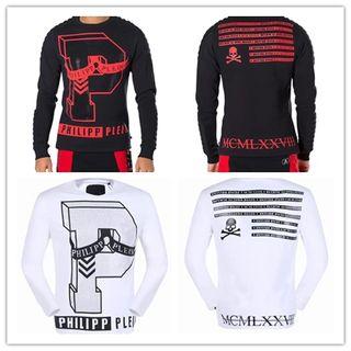 2017新品PP メンズTシャツ黒白2色選択 長袖