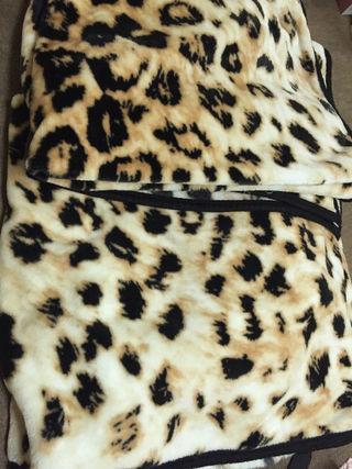豹柄ヒョウ薄型毛布二枚まとめた出品