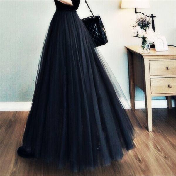 【即日発送】 大きいサイズ ブラック ロングチュールスカート - フリマアプリ&サイトShoppies[ショッピーズ]