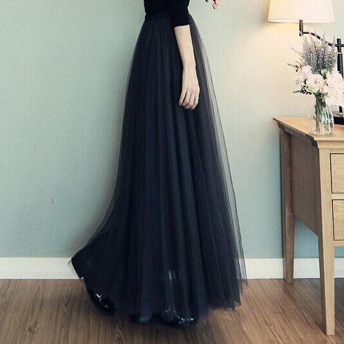 【即日発送】 大きいサイズ ブラック ロングチュールスカート