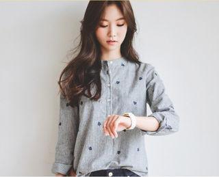 葉っぱの刺繍襟シャツ グレー M