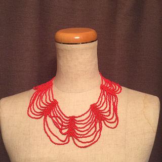BEAMS designsix ビーズネックレス 赤