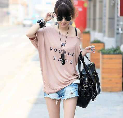 ワンショルダープリントTシャツ/シンプルロゴ