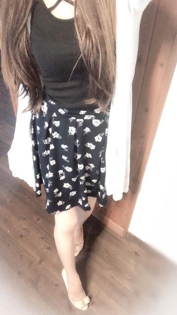 NAVY小花柄フレアスカート