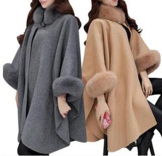 秋冬 コート ポンチョ ファーコート 大きいサイズまで