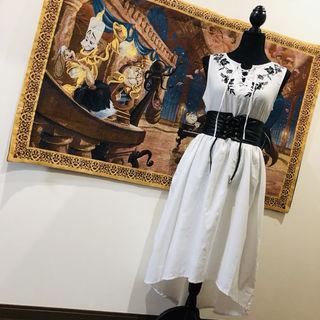 レースアップ 刺繍 アシンメトリー ワンピース ドレス