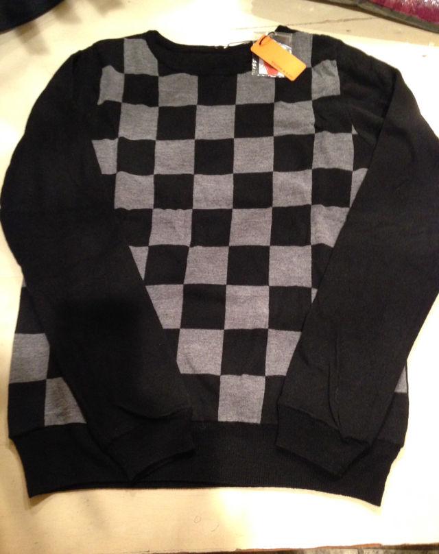 ブロックチェック柄ニットセーター