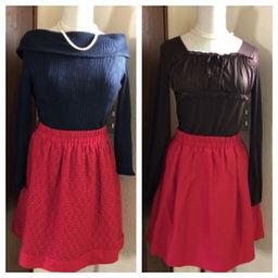 ロペピクニック  深めの赤色 リバーシブル スカート