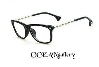 マット ブラック黒 メタル クロス十字架 伊達 メガネ 眼鏡
