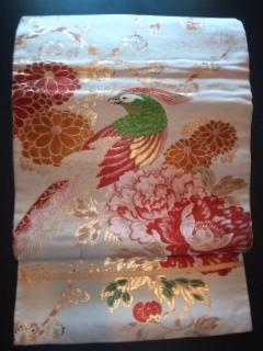 アイボリー/華ヤカレトロ*帯正絹ナゴヤ美品古典