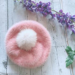 美品 アンゴラ 2way ファー帽子