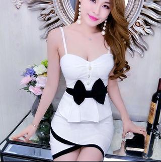 白 黒 リボン バイカラー ワンピ キャバドレス ドレス