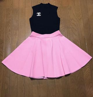 タグ付き フレアスカート ミニスカート Aライン ピンク
