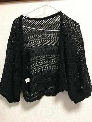 5部丈 カギ編みボレロ ブラック
