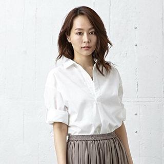 綿スキッパー七分袖シャツ