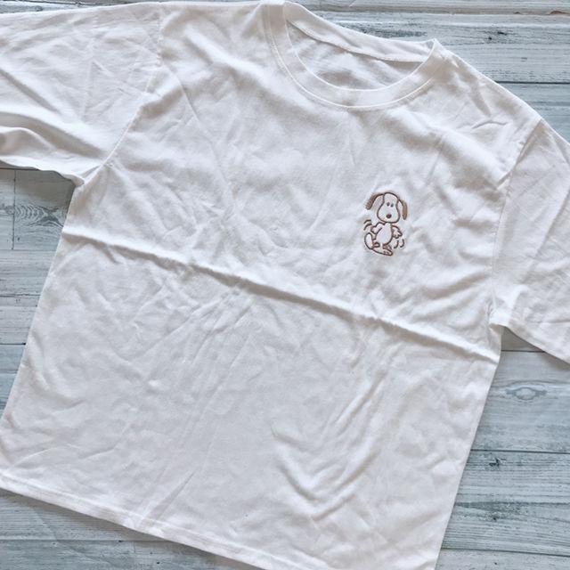 新品 スヌーピー 刺繍 Tシャツ