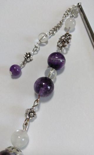 かんざし 天然石 紫