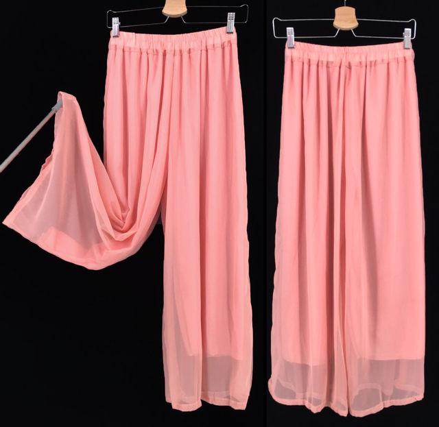 長い裏地 プリ-ツスカーチョ シフォン ワイドパンツ ピンク