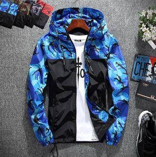 マウンテンパーカー 迷彩柄 ジャケット 軽量 ブルー XL
