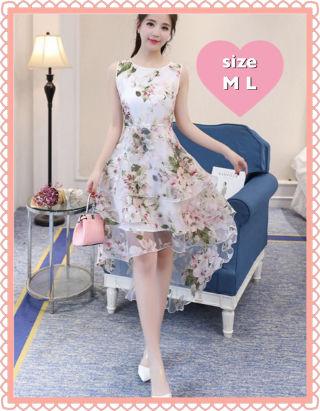 ピンク 花柄 フィッシュテール ミニ キャバドレス