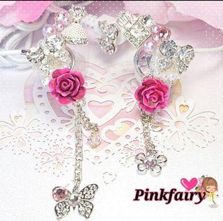 送料込みPink fairy*゜姫デコイヤホン