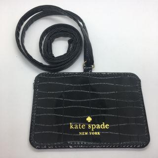 ケイトスペードNY エナメル ID パスホルダー 黒 美品