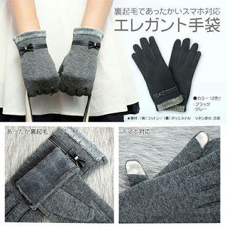 リボンモチーフ(グレー)スマートフォン対応エレガント手袋