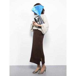 タイムセール!ワイドリブニットタイトスリットスカート