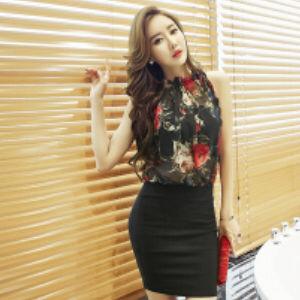 ブラック セットアップ 花柄 透け感 ミニ タイト ドレス