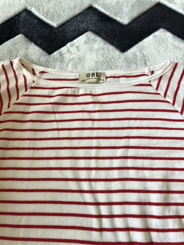 GRL/赤×白ボーダーTシャツ