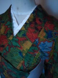 緑個性派*アートウール単衣159未使用レタP