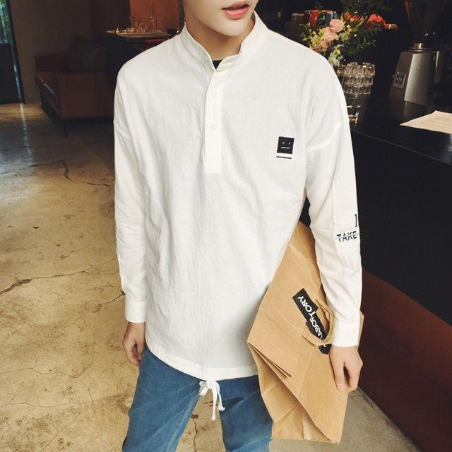 シャツ新品メンズシャツ長袖立襟カジュアルおしゃれD13-3 - フリマアプリ&サイトShoppies[ショッピーズ]