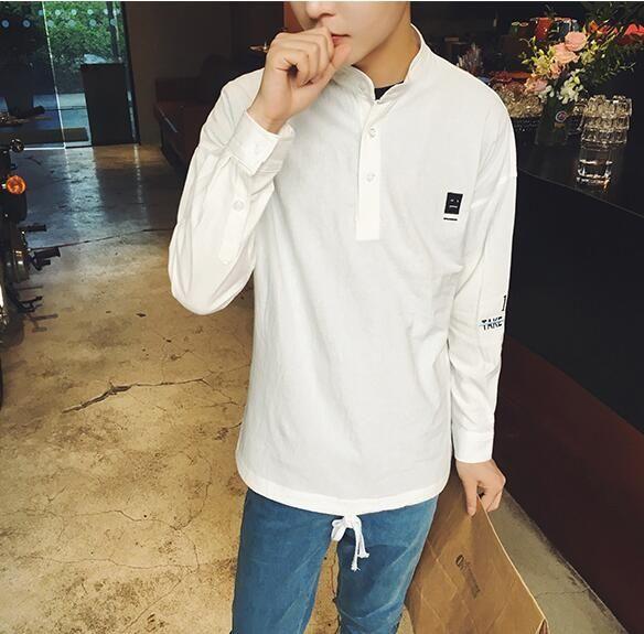 シャツ新品メンズシャツ長袖立襟カジュアルおしゃれD13-3