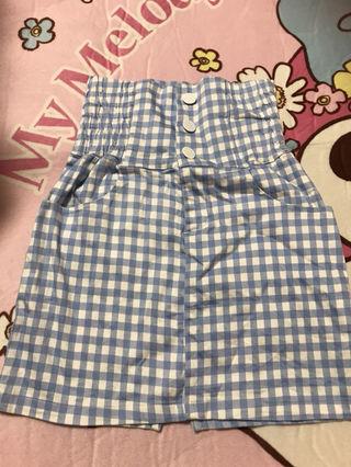 ギンガムチェック スカート 水色