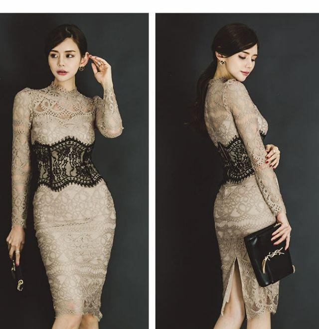 ベジュレスワンピース結婚式二次会お呼ばれドレス