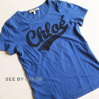 美品 S~M位 シーバイクロエ 半袖ロゴTシャツ ブルー