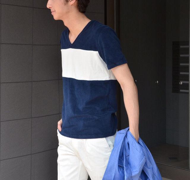 定価4,212円Vネック パイルマリンTシャツ紺