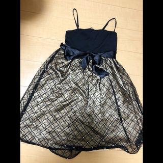 ブラックゴールド ウエストリボン花柄刺繍ビジューワンピドレス
