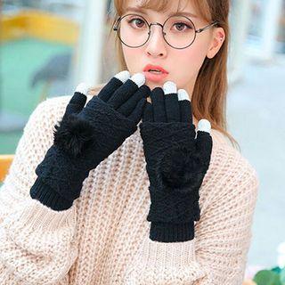 【ブラック】スマホ 対応 グローブ  あったかニット手袋